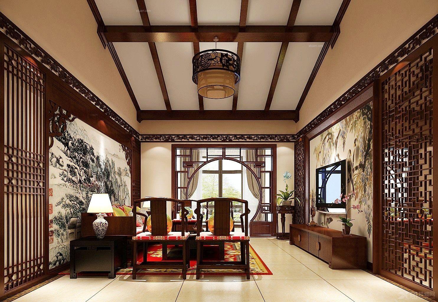 简中式客厅装修吊顶实景图大全图片