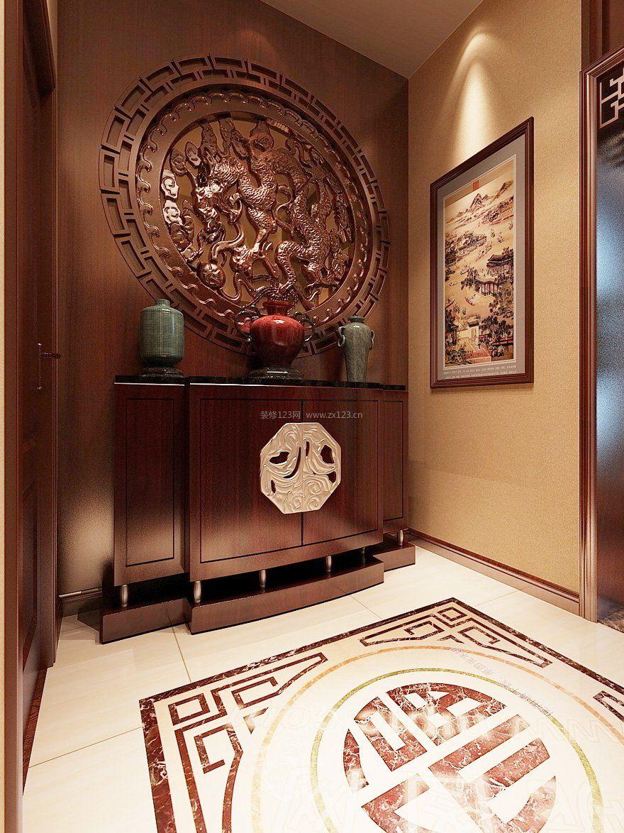 别墅新中式风格玄关装修效果图图片