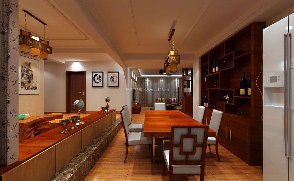 家装效果图 中式 简约中式餐厅整体酒柜设计装修效果图片 提供者