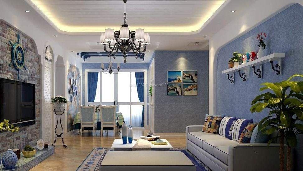 小户型地中海风格背景墙壁纸图片大全_装修123效果图