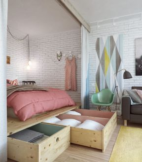 10平米小卧室设计 现代北欧风格窗帘