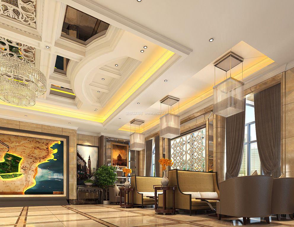 新中式会所室内吊顶装饰装修效果图