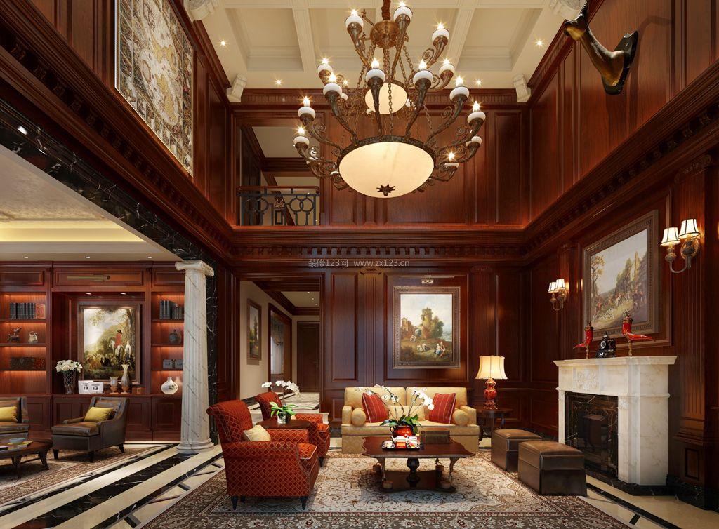 美式别墅客厅壁炉装修效果图片欣赏