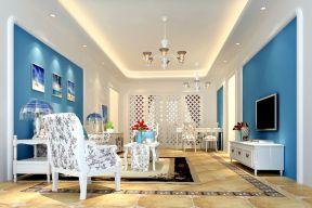 地中海风格客厅装修效果图 硅藻泥背景墙装修效果图片