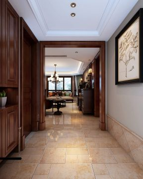美式家装风格效果图 进门鞋柜玄关