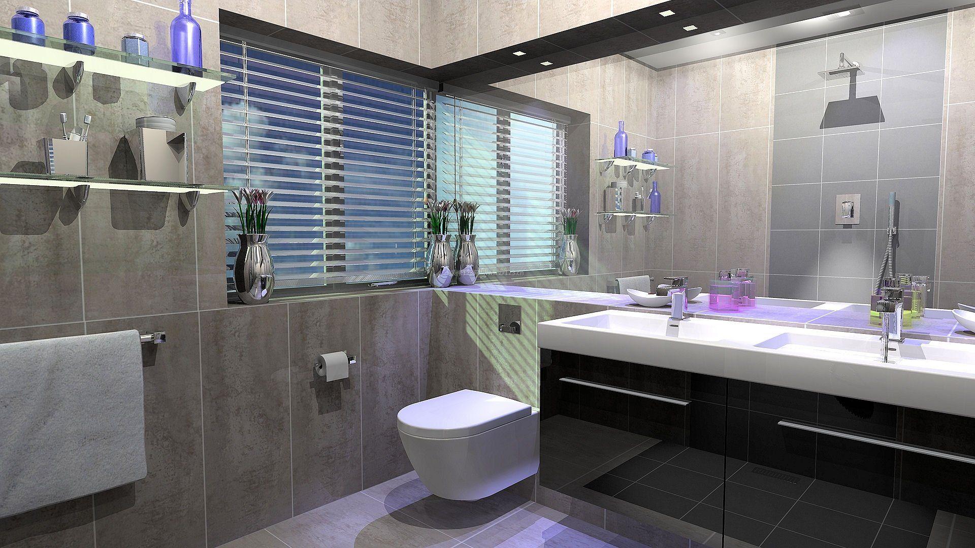 灰色瓷砖景墙卫生间效果图