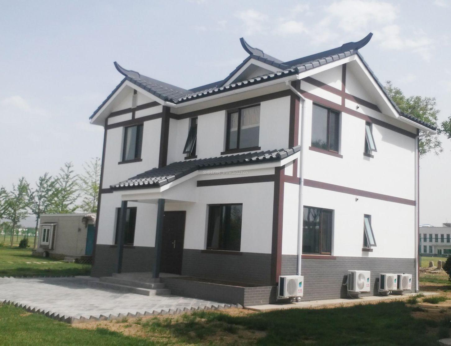 中式风格农村别墅外墙瓷砖设计效果图