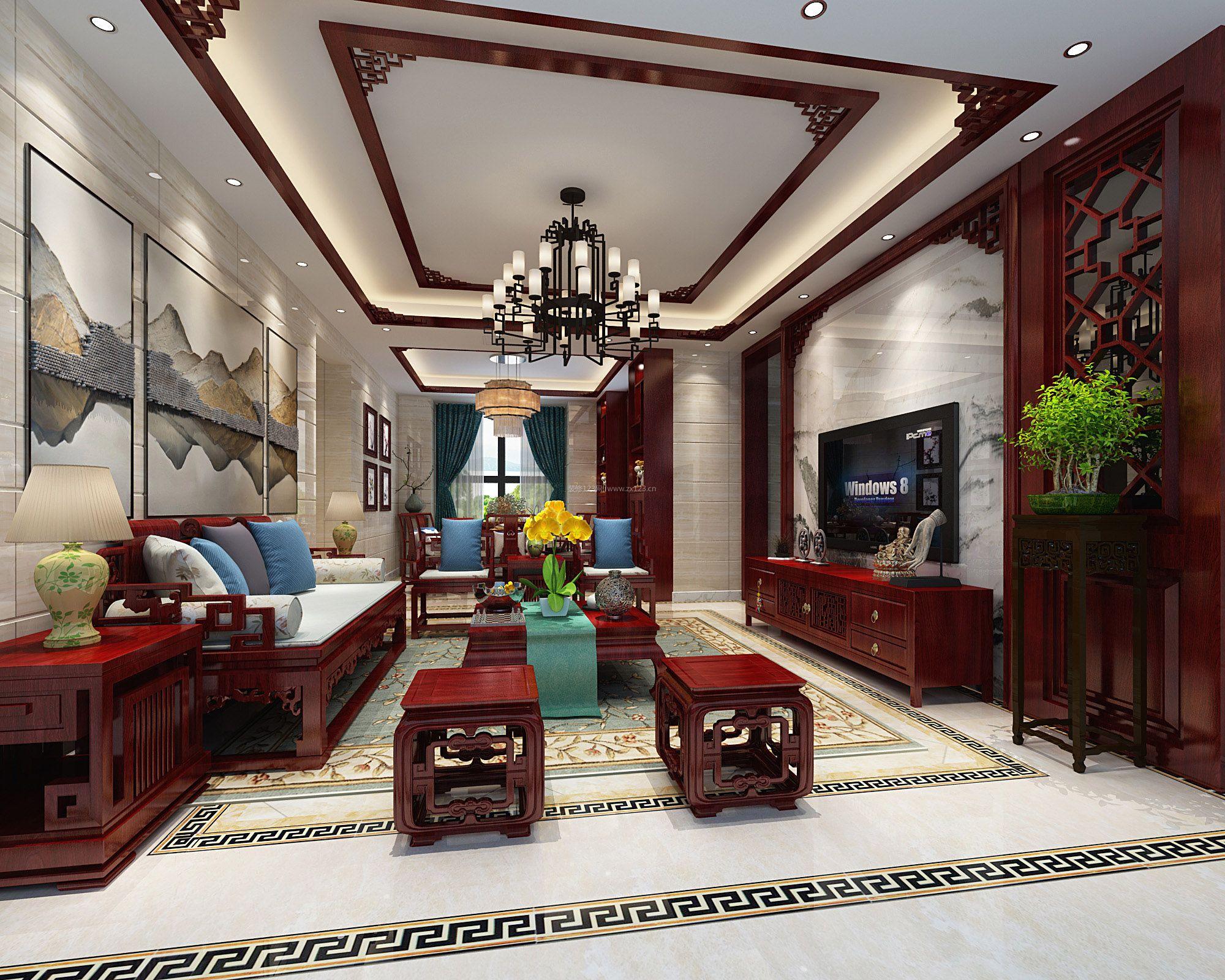 最新中式客厅红木家具装修效果图片