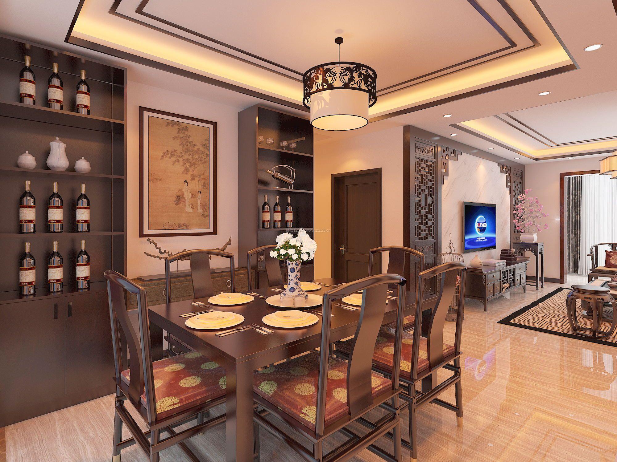 中式家庭餐厅酒柜设计装修效果图片