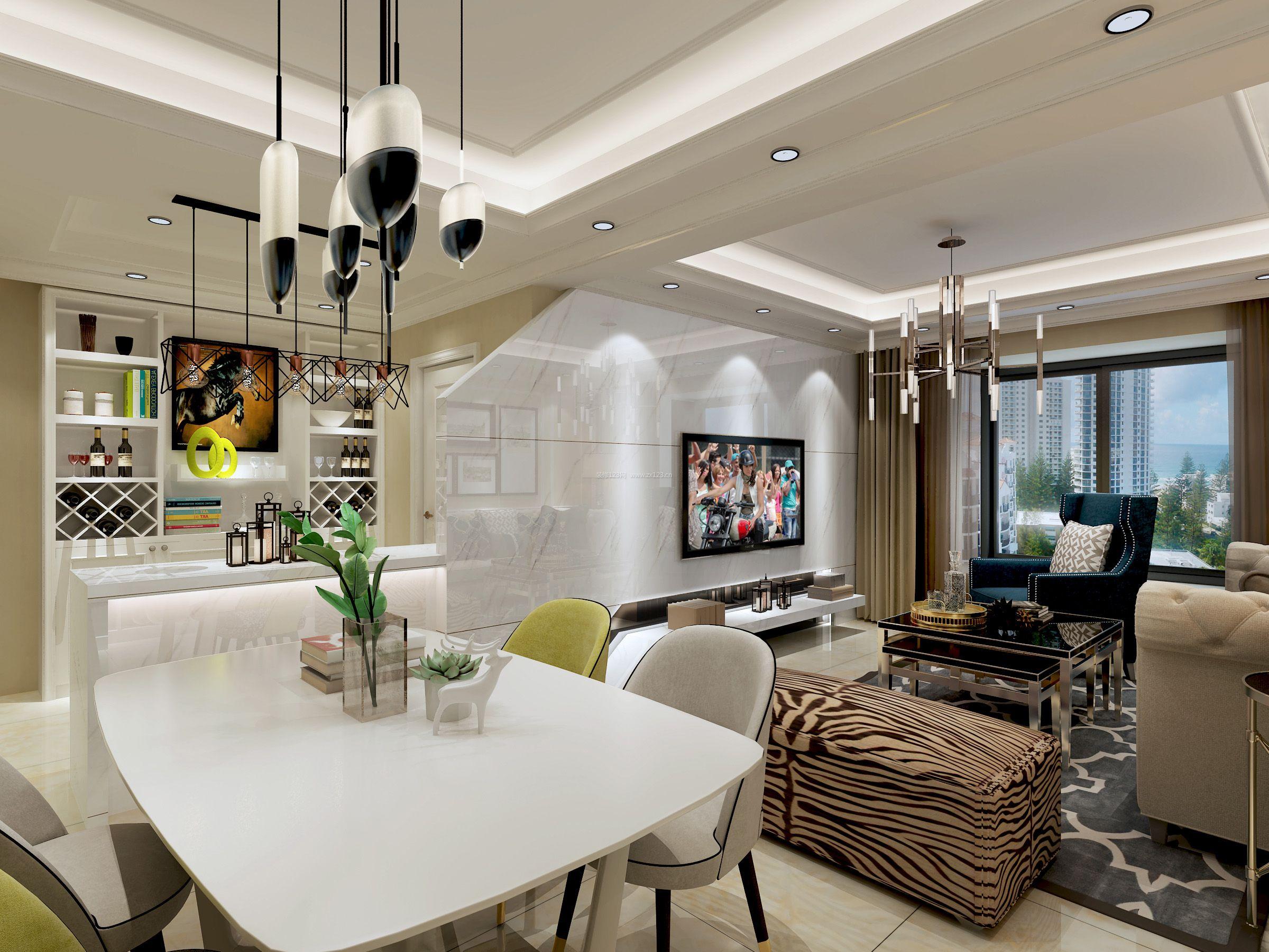 现代家居2017餐厅酒柜装修效果图片