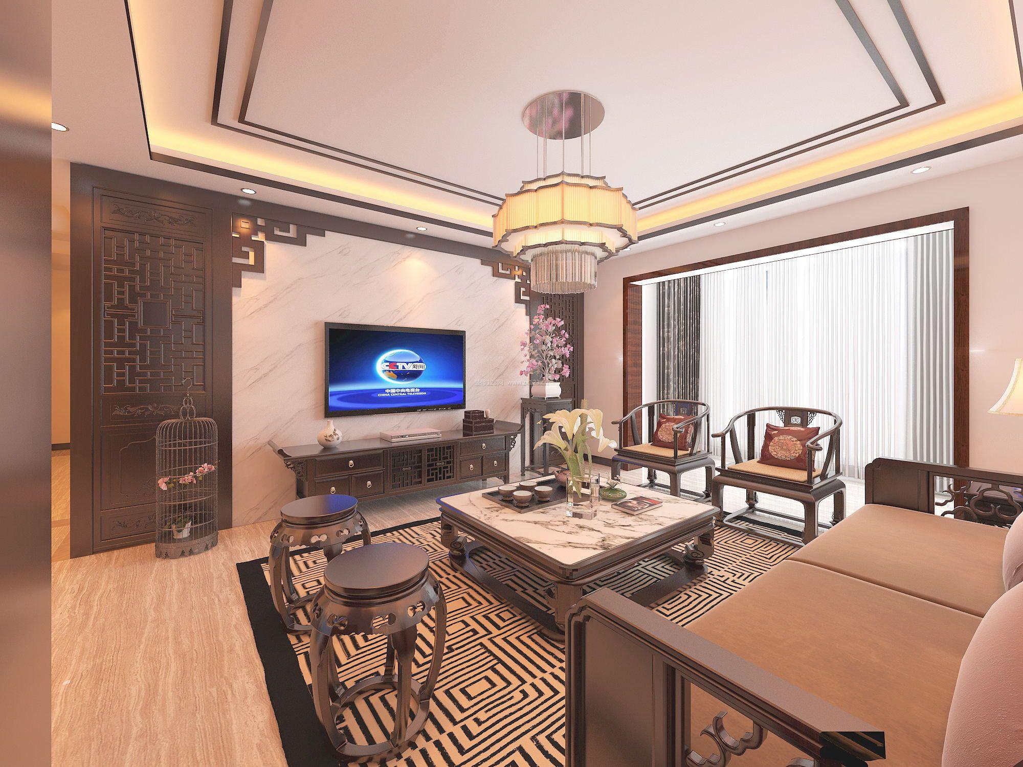 经典中式客厅电视墙设计装修效果图