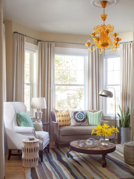 美式客厅飘窗窗帘装修效果图大全图片
