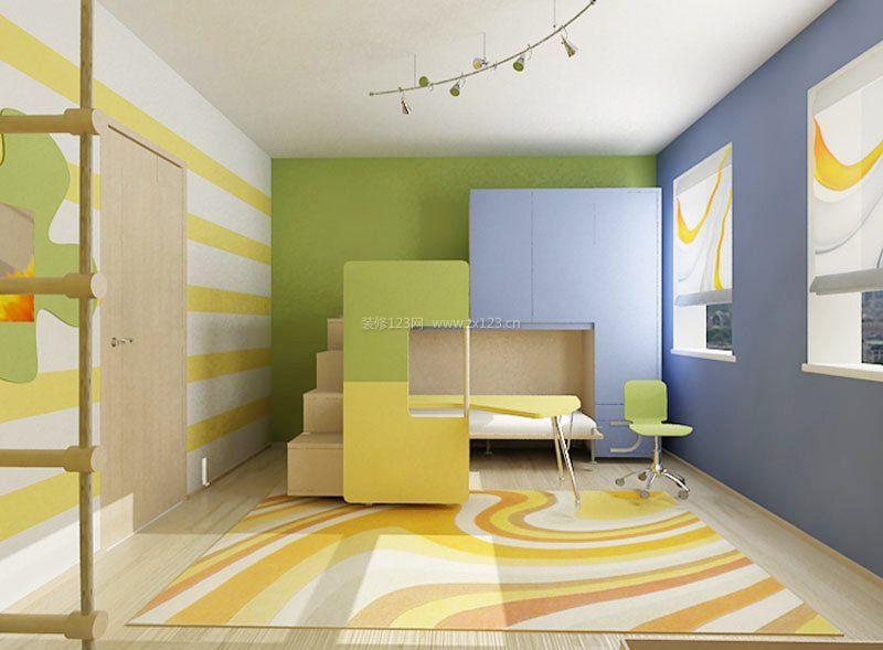 现代简约儿童房床装修效果图片