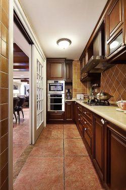 美式乡村厨房黑色门装修效果图片
