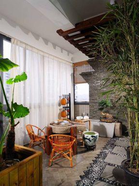 阳台窗帘装修效果图 新中式阳台装修效果图
