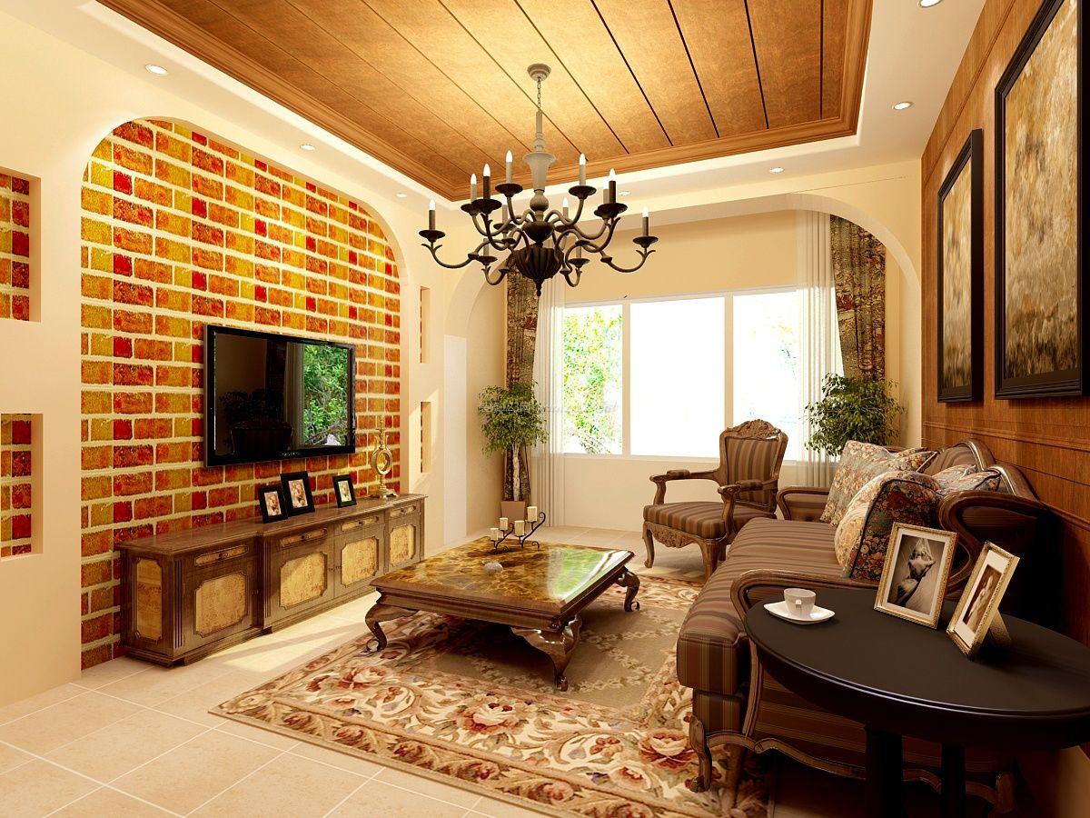 2017美式乡村风格电视背景墙家装修效果图图片