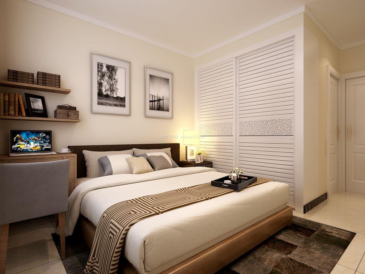 现代主卧室衣柜推拉门装修效果图片