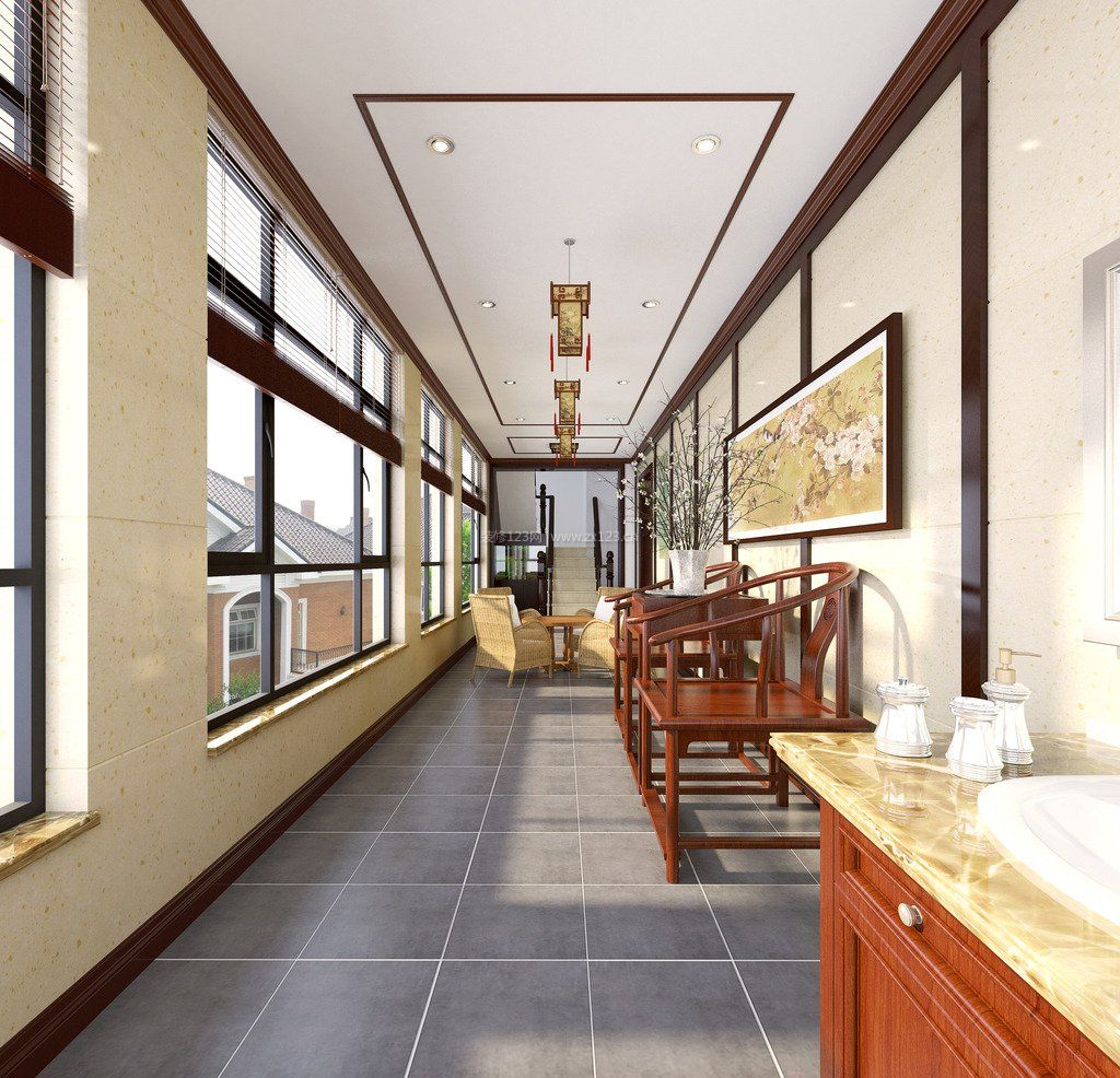 中式现代家装阳台装修图片效果图图片