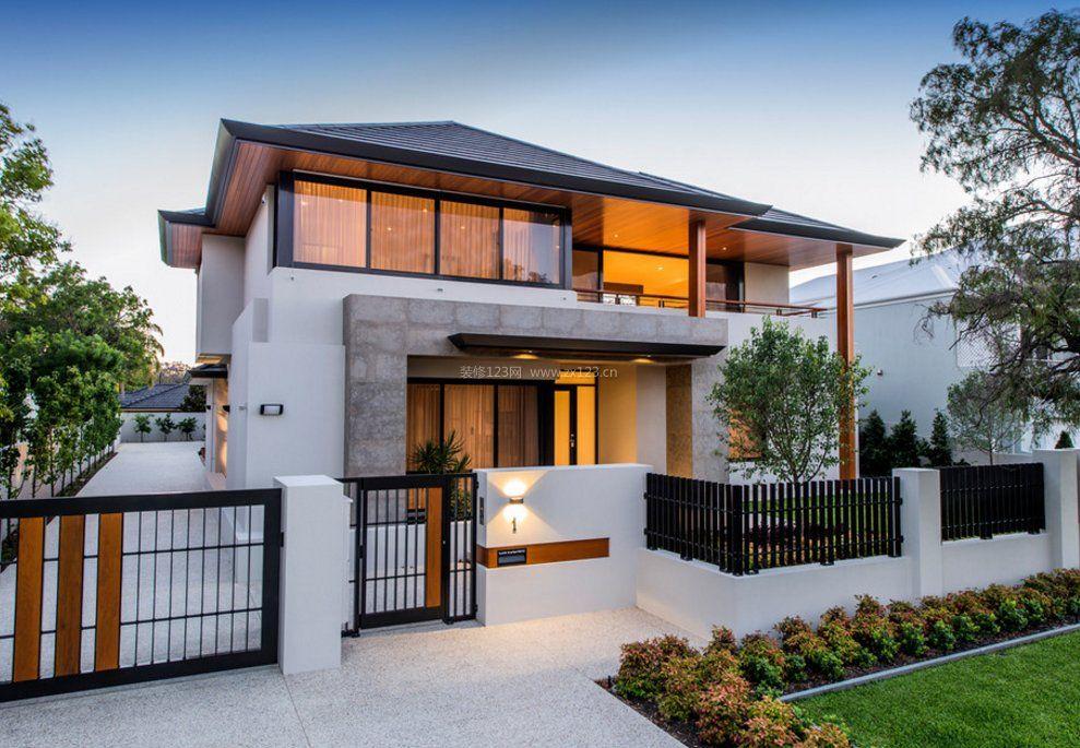 现代农村小别墅围墙大门外观设计_装修123效果图