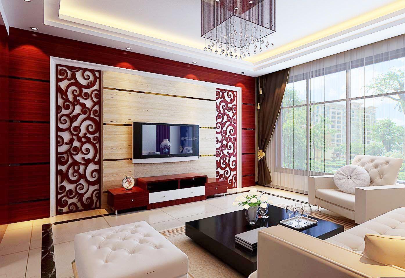 现代中式风格电视背景墙图片