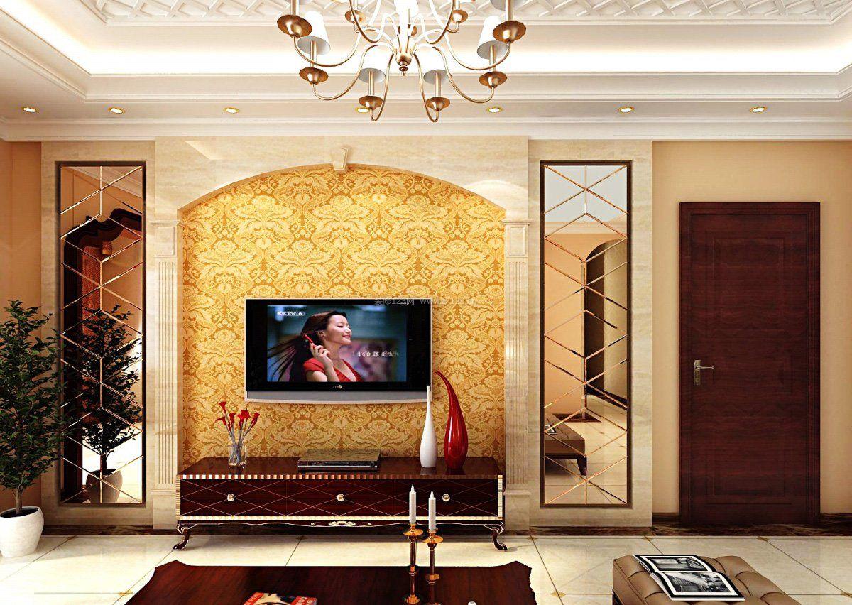 现代欧式混搭风格电视背景墙_装修123效果图图片