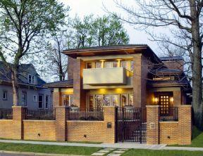 农村小别墅围墙大门 红砖墙装修效果图片图片