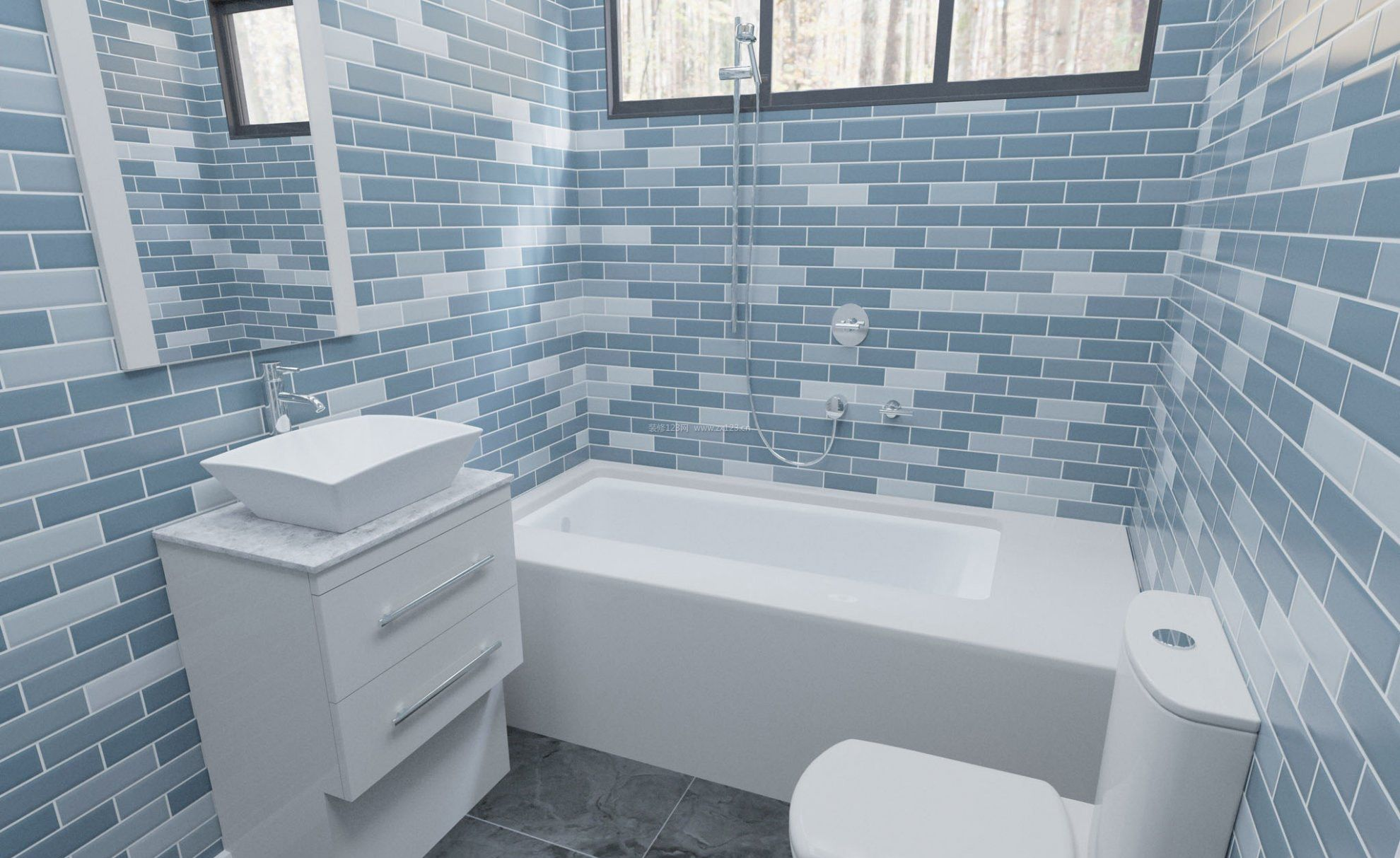 小卫生间蓝色瓷砖效果图_装修123效果图