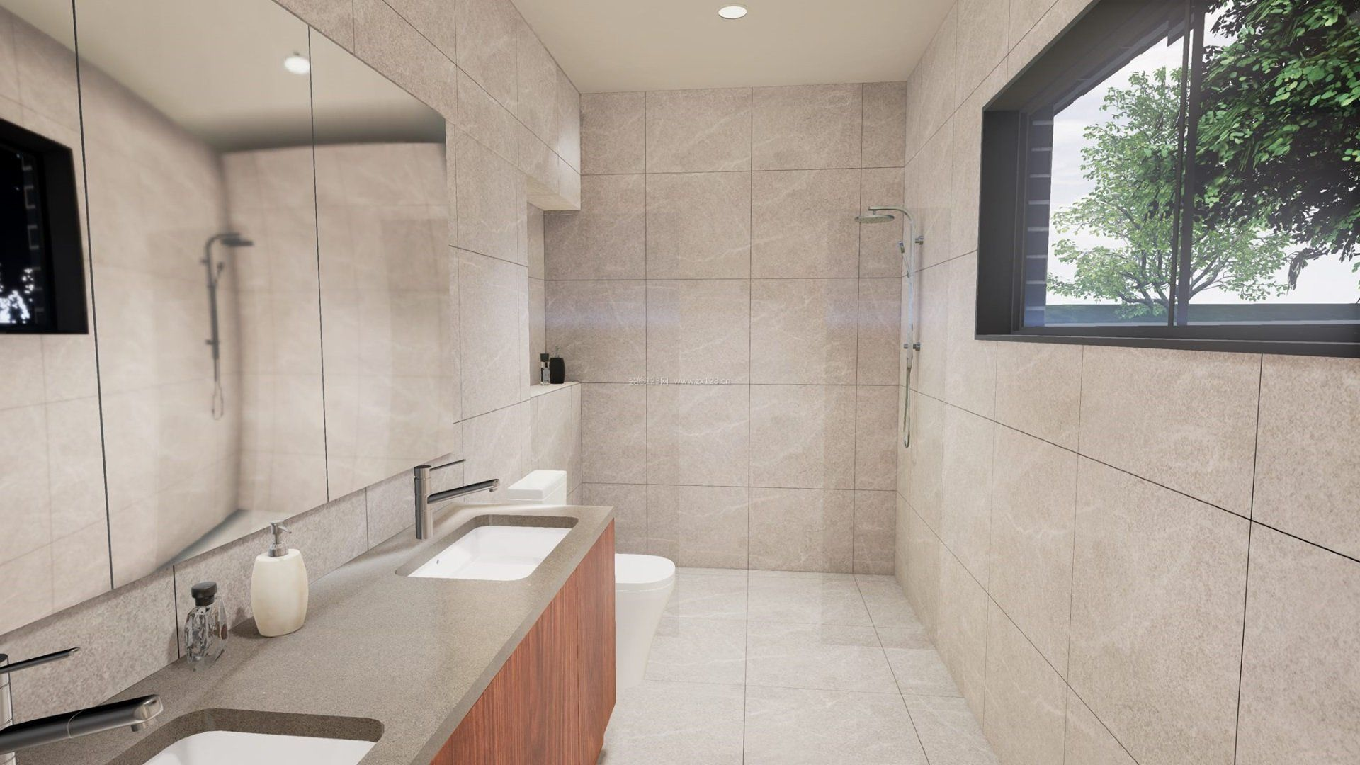 小卫生间室内米色瓷砖装修效果图_装修123效果图