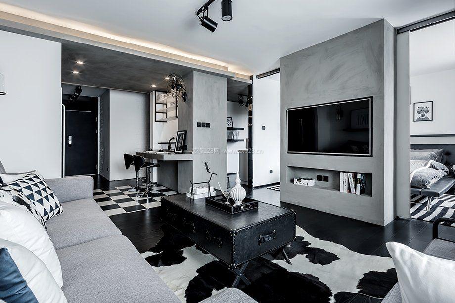 70平方房子設計電視墻隔斷圖片