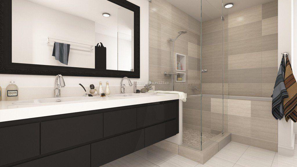 小户型卫生间黑白瓷砖效果图