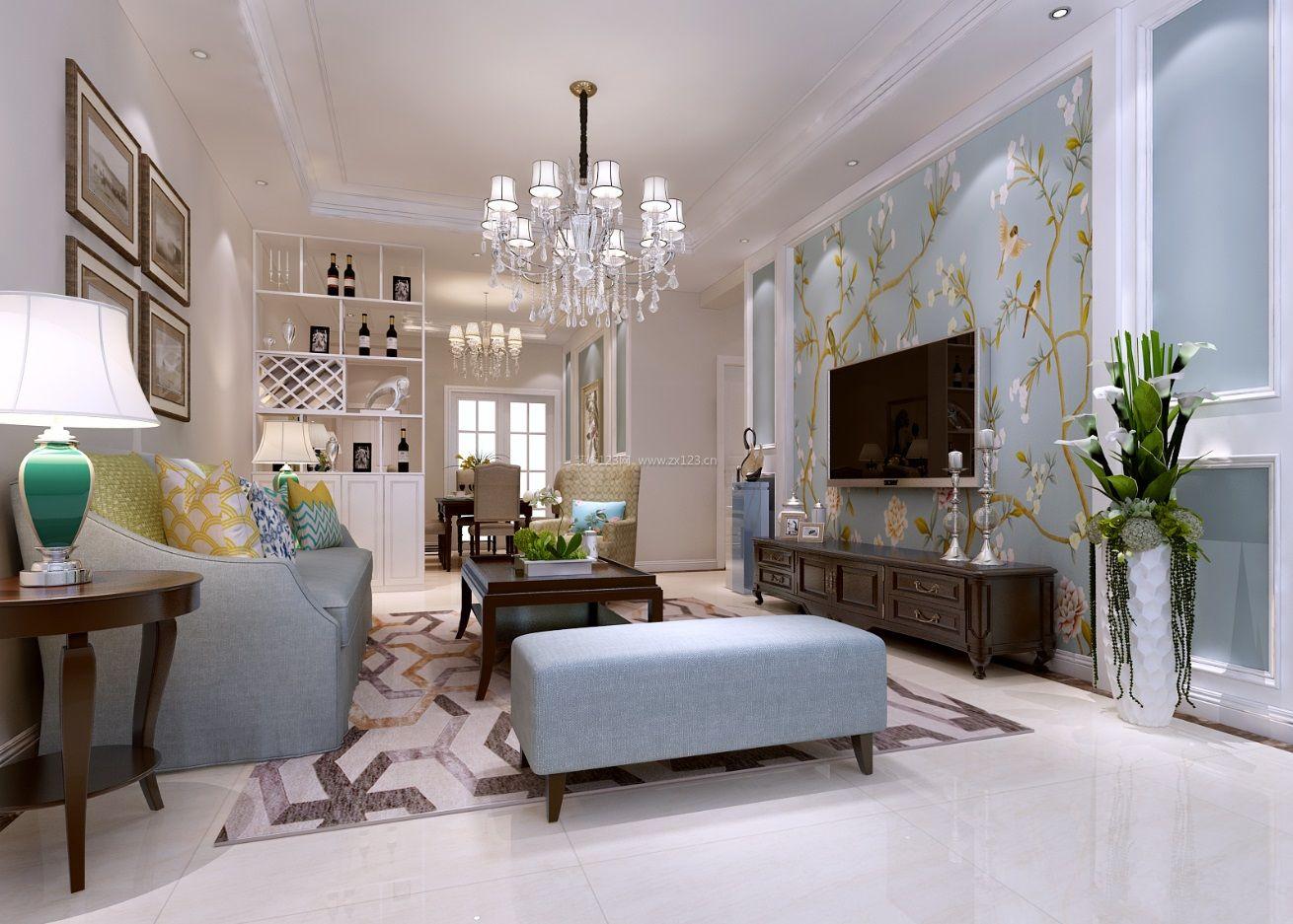 美式混搭风格客厅电视背景墙壁纸装修效果图