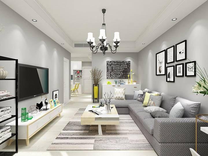 现代北欧风格客厅转角沙发装修效果图片2017