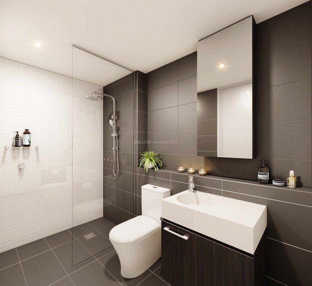 现代黑白浴室瓷砖装修效果图