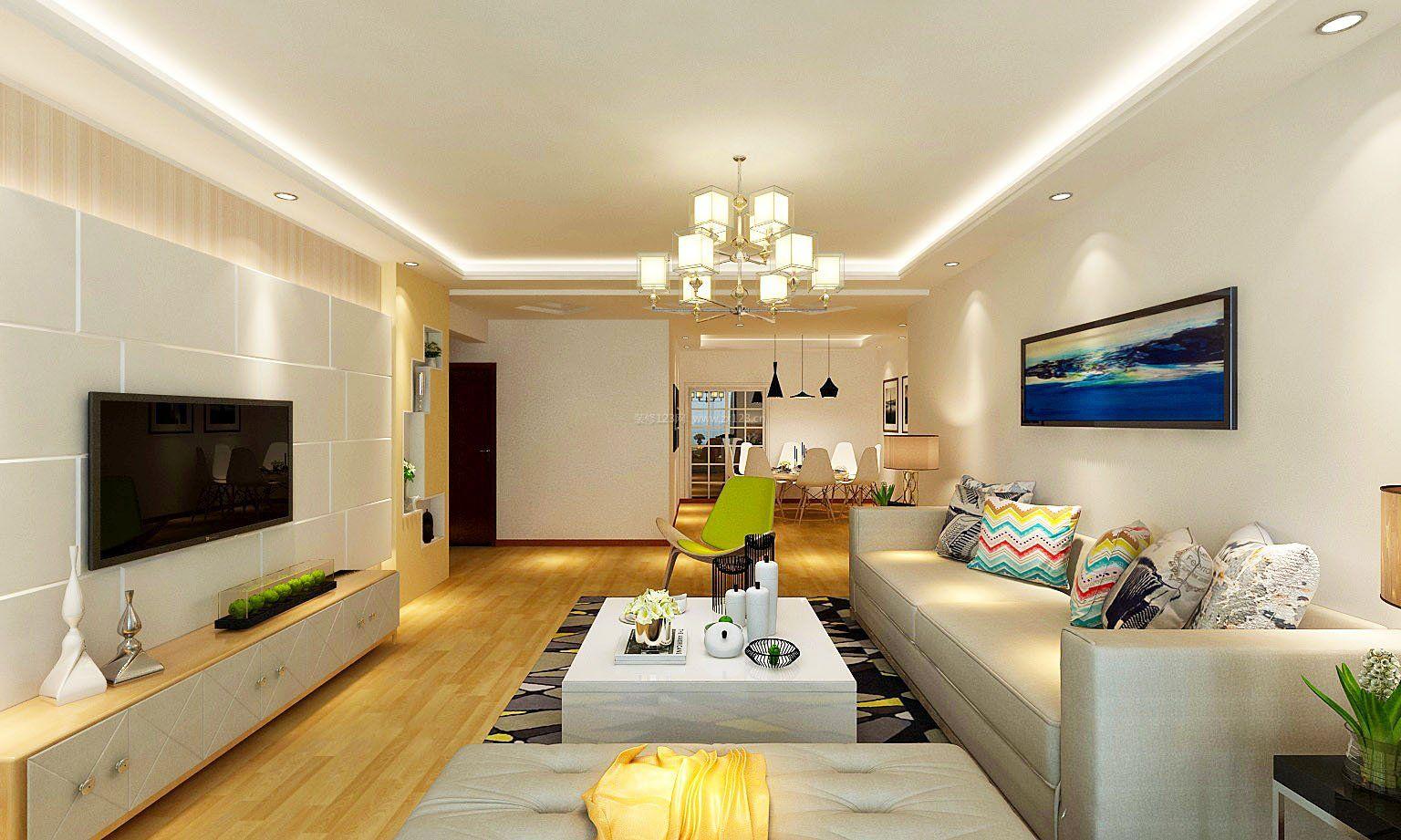 现代简约客厅橡木地板装修效果图片欣赏