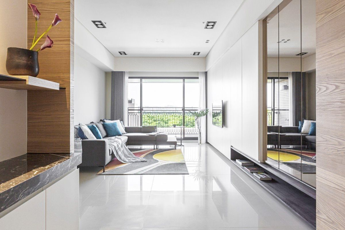 现代简约客厅地砖装修效果图大全欣赏图片
