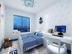 地中海风格卧室 背景墙壁纸装修效果图片