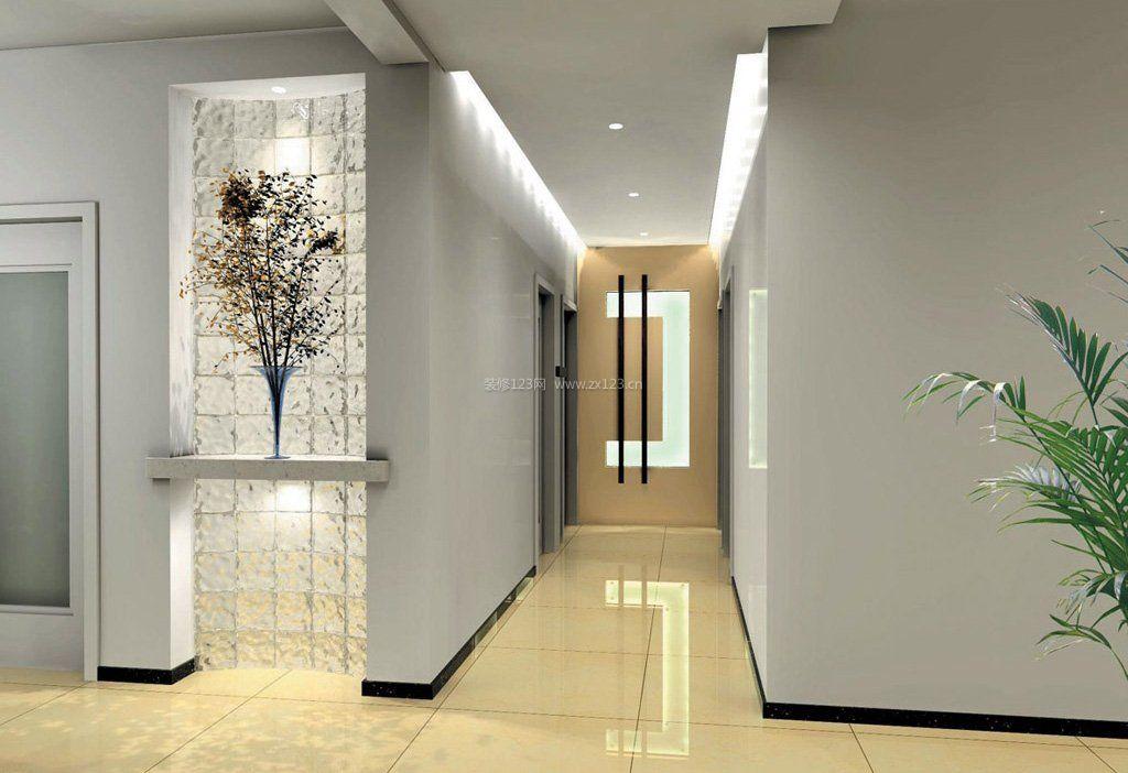 现代办公室风格走廊过道吊顶效果图_装修123效果图