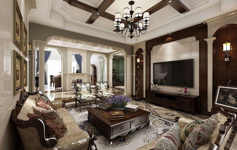 美式别墅客厅瓷砖电视背景墙装修效果图