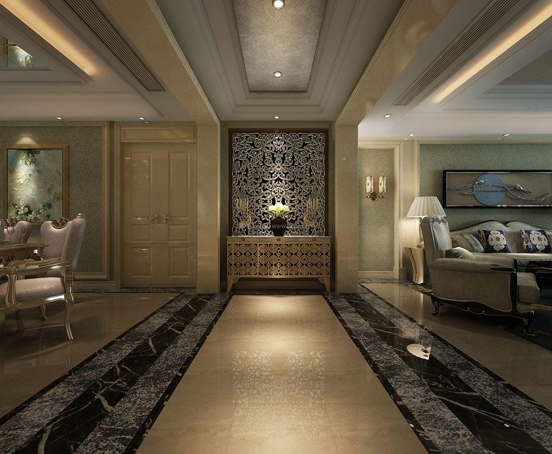 欧式新古典风格客厅连过道吊顶设计图图片