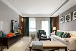 现代中式客厅窗帘布艺装修效果图图片
