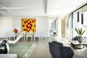 室内后现代风格 餐厅背景墙造型