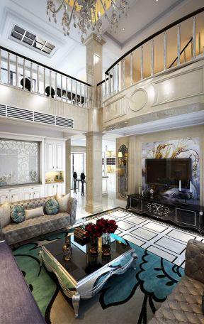 复式欧式客厅装修效果图 电视墙设计图