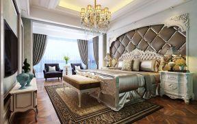 欧式别墅卧室 床头软包背景墙装修效果图