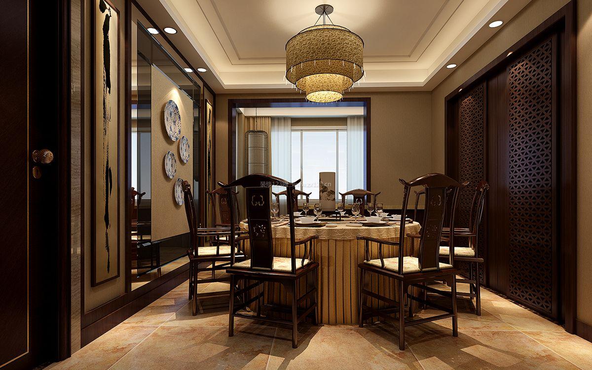 新中式餐厅背景墙造型设计装修效果图_装修123效果图