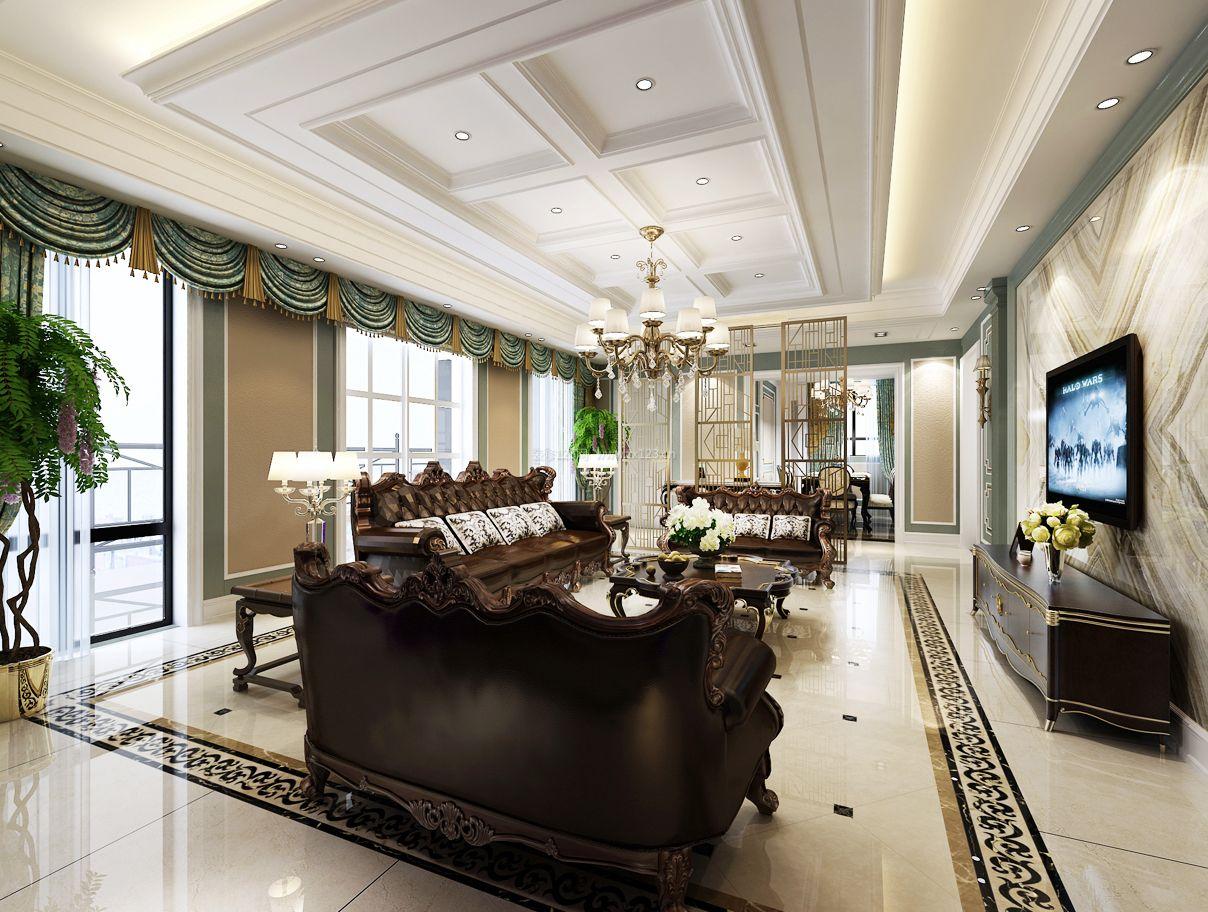 欧式家装客厅轻钢龙骨石膏板吊顶效果图