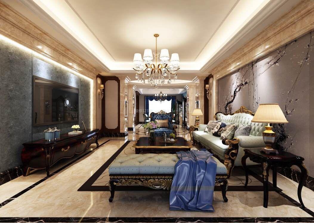 法式新古典客厅石材电视背景墙装修效果图
