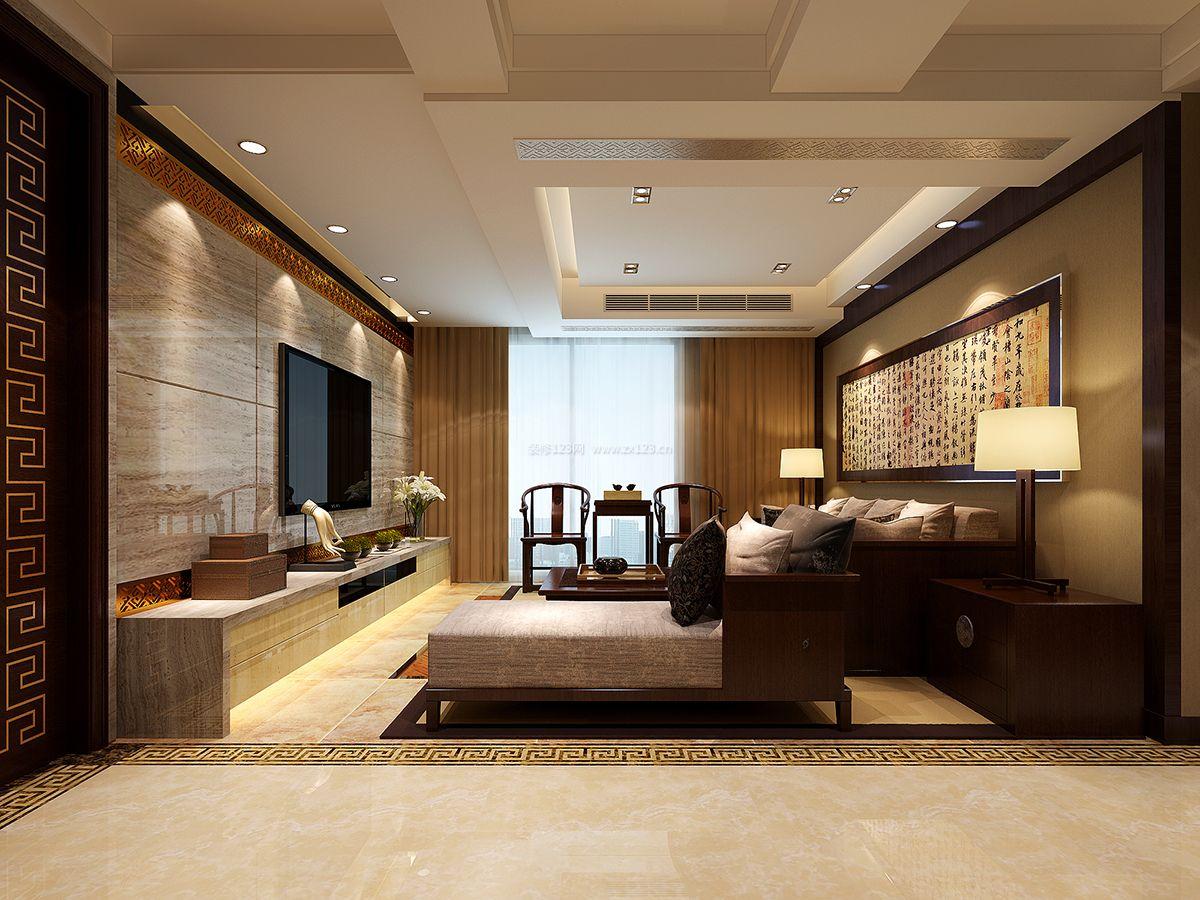 新中式客厅石膏板吊顶装修效果图片大全图片