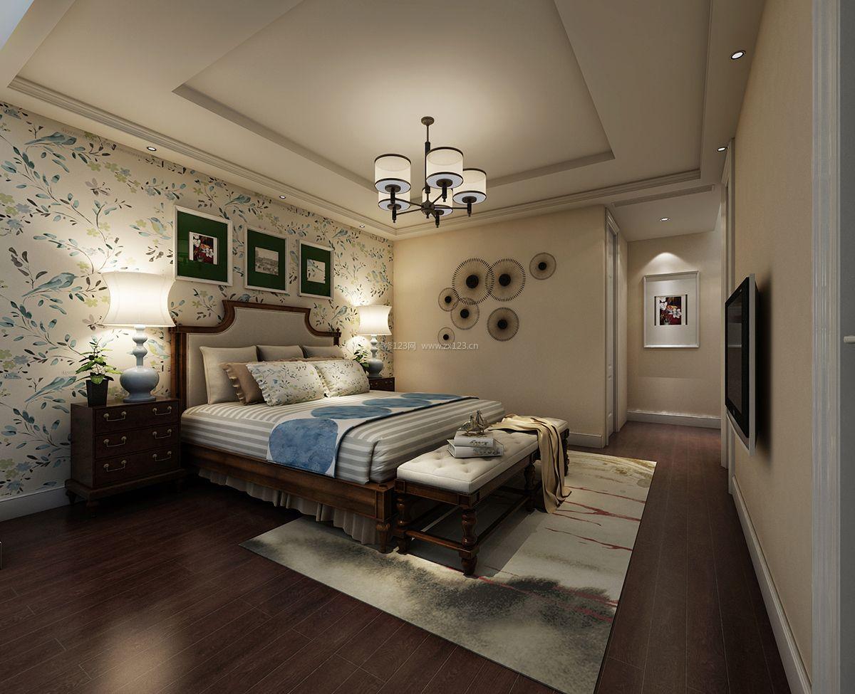 简约中式卧室床头壁纸背景墙装修效果图片大全图片