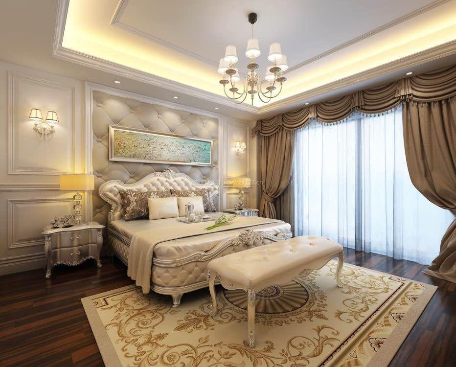 法式卧室床头软包背景墙装修效果图2017图片