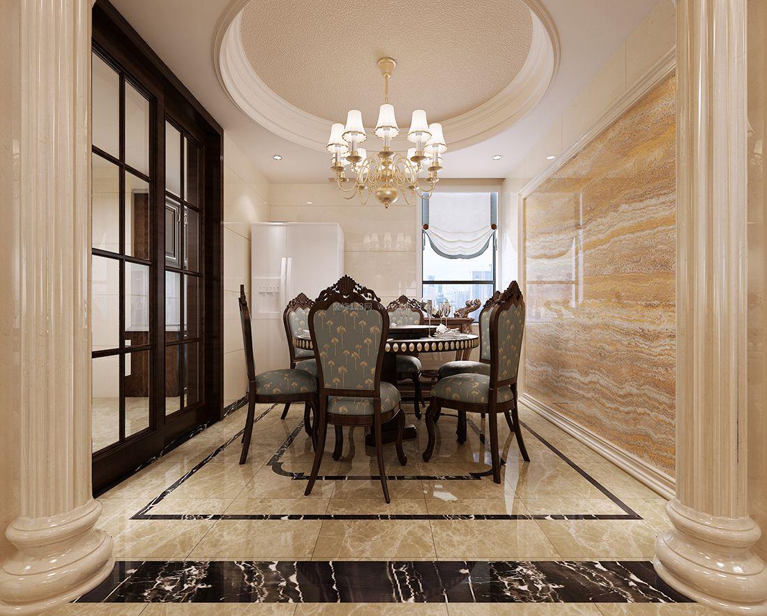 别墅简欧餐厅大理石背景墙装修效果图片图片